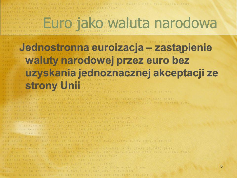 Euro jako waluta narodowa