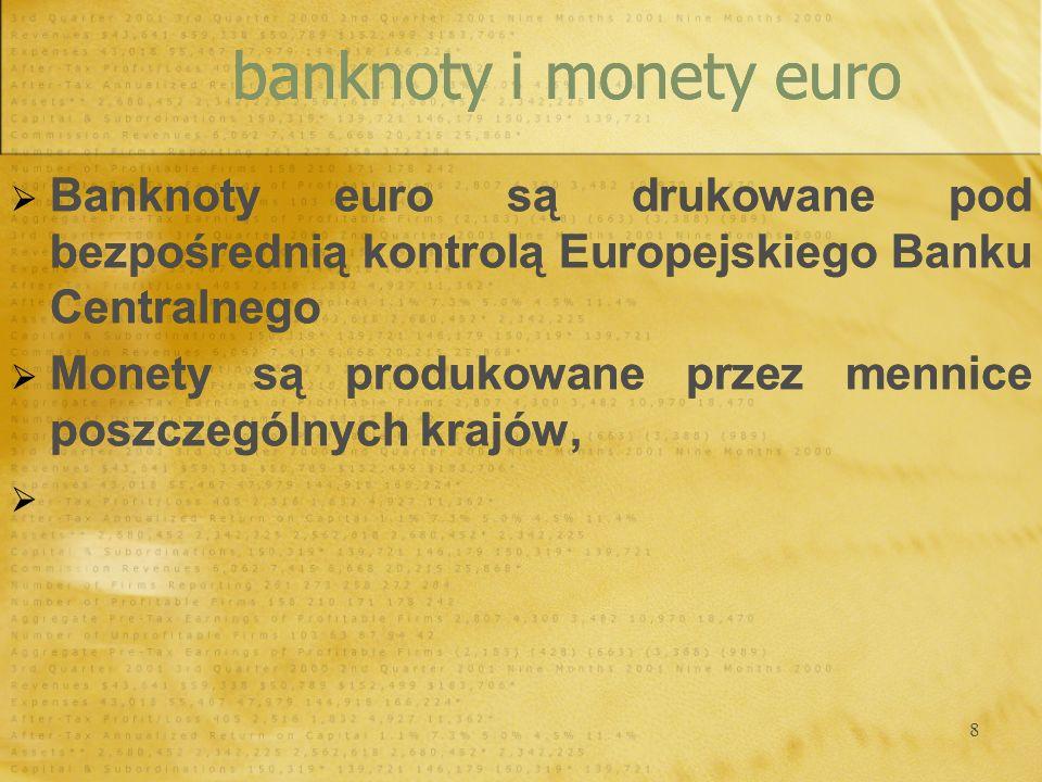 banknoty i monety euro Banknoty euro są drukowane pod bezpośrednią kontrolą Europejskiego Banku Centralnego.
