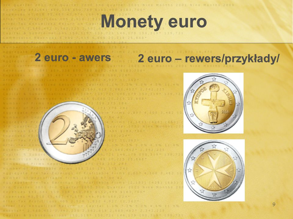 Monety euro 2 euro - awers 2 euro – rewers/przykłady/