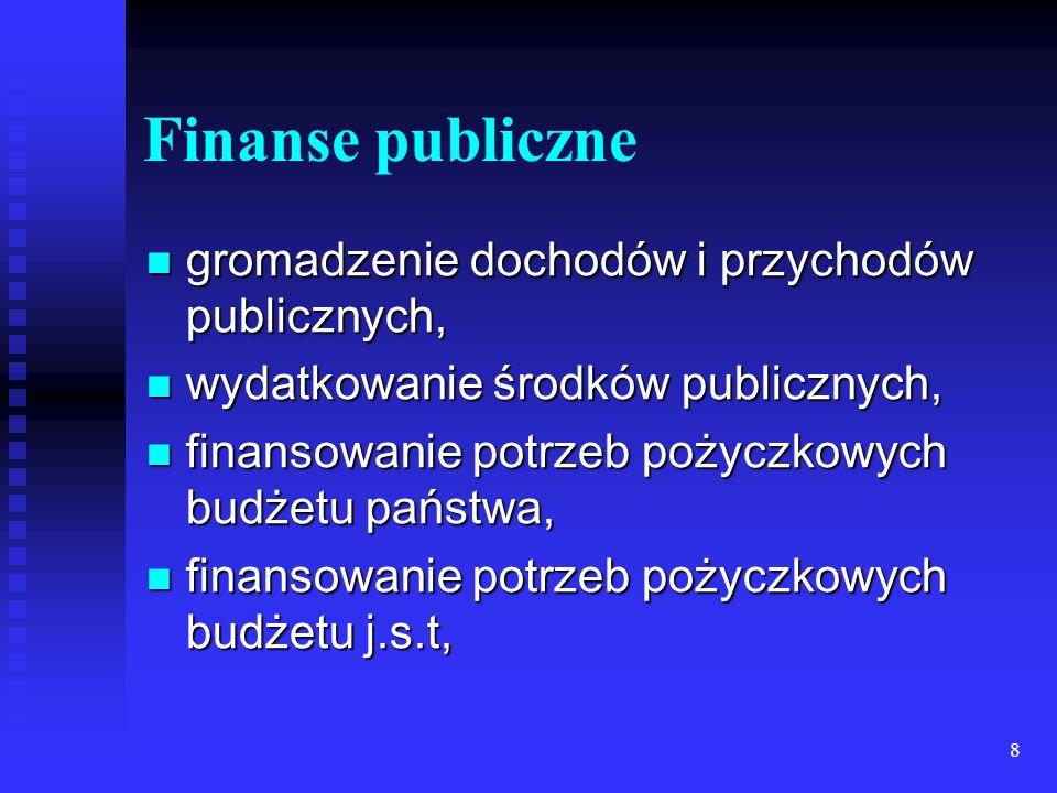 Finanse publiczne gromadzenie dochodów i przychodów publicznych,