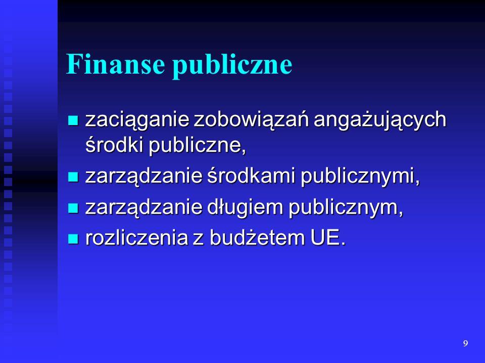 Finanse publiczne zaciąganie zobowiązań angażujących środki publiczne,