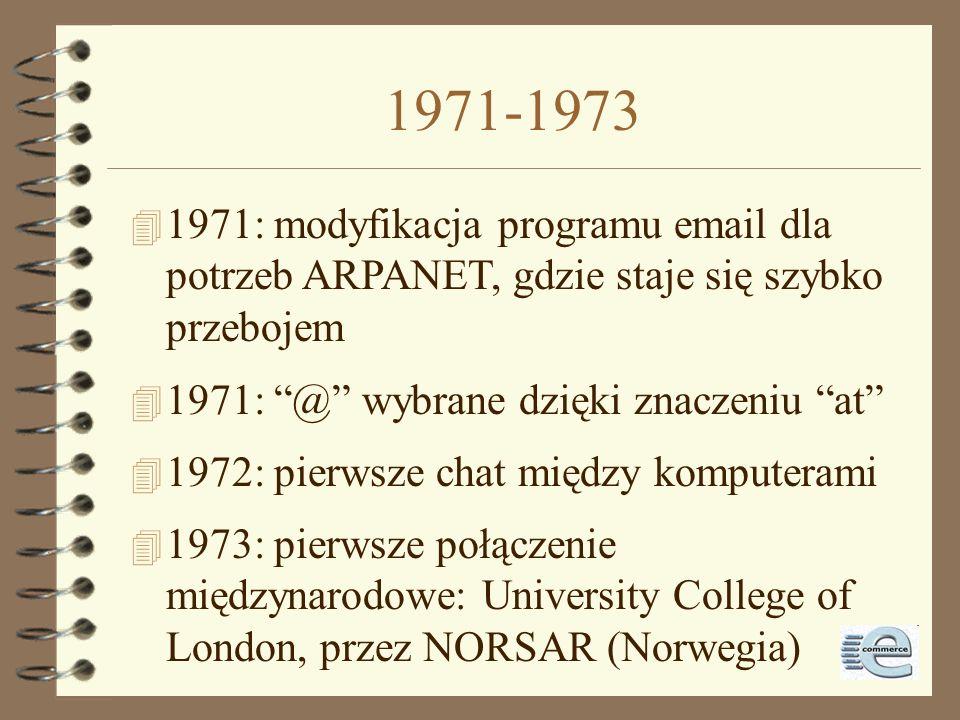 1971-1973 1971: modyfikacja programu email dla potrzeb ARPANET, gdzie staje się szybko przebojem. 1971: @ wybrane dzięki znaczeniu at