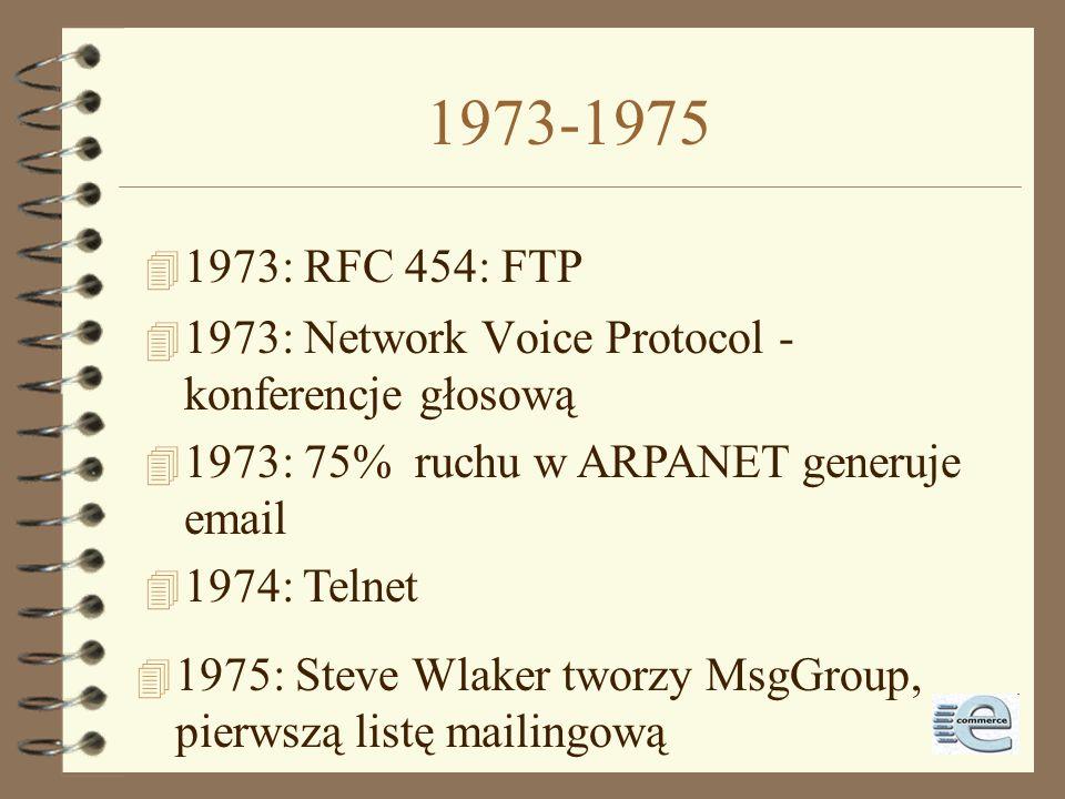 1973-1975 1973: RFC 454: FTP. 1973: Network Voice Protocol - konferencje głosową. 1973: 75% ruchu w ARPANET generuje email.