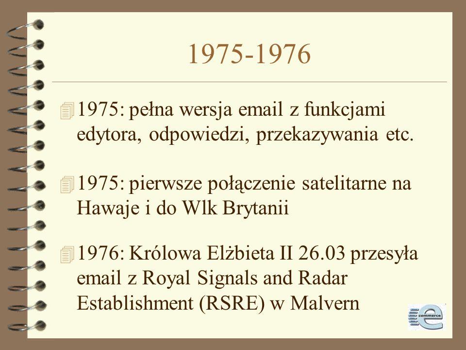 1975-1976 1975: pełna wersja email z funkcjami edytora, odpowiedzi, przekazywania etc.