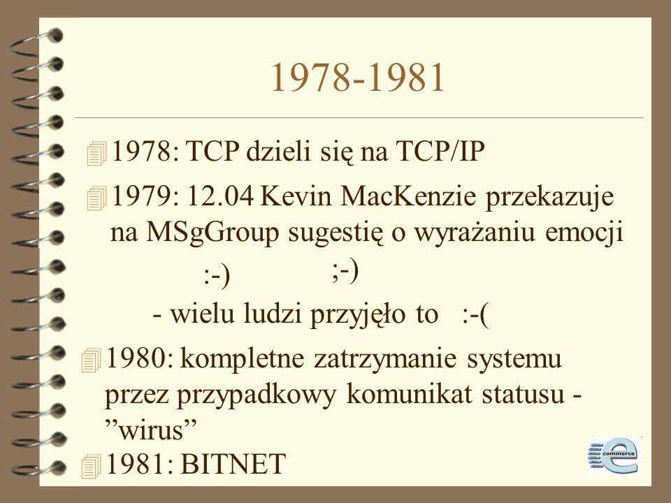 1978-1981 1978: TCP dzieli się na TCP/IP
