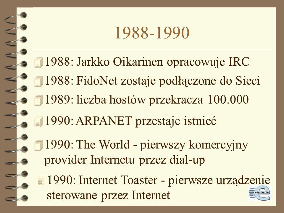 1988-1990 1988: Jarkko Oikarinen opracowuje IRC