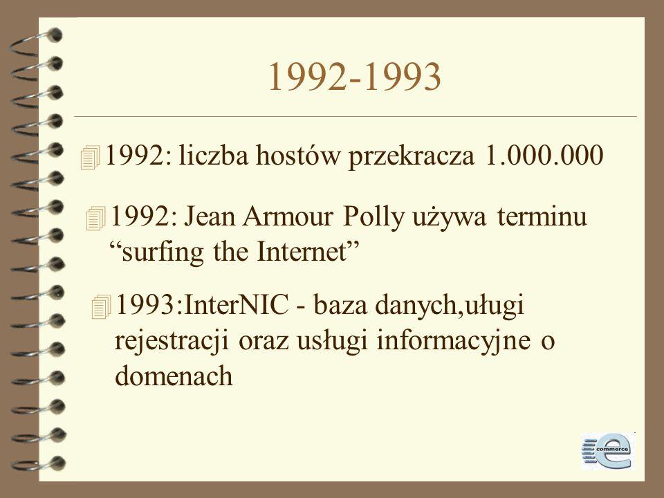 1992-1993 1992: liczba hostów przekracza 1.000.000