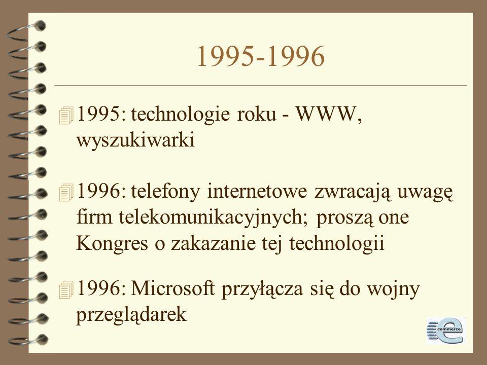 1995-1996 1995: technologie roku - WWW, wyszukiwarki