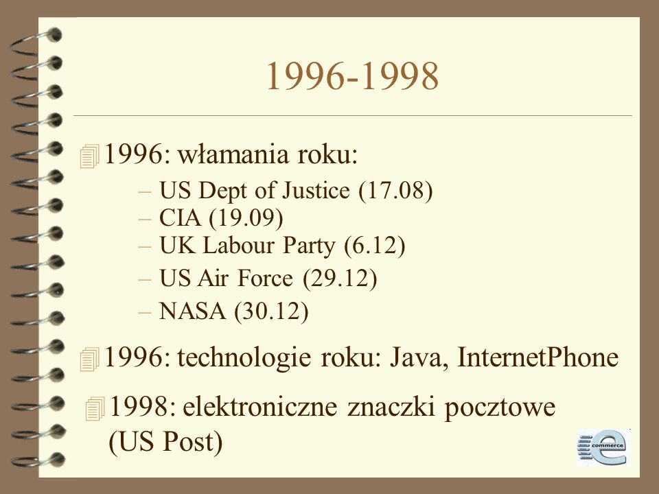 1996-1998 1996: włamania roku: US Dept of Justice (17.08) CIA (19.09) UK Labour Party (6.12) US Air Force (29.12)