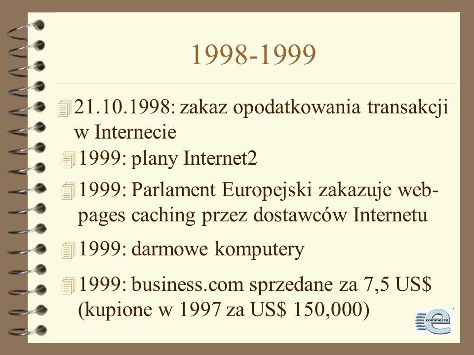 1998-1999 21.10.1998: zakaz opodatkowania transakcji w Internecie