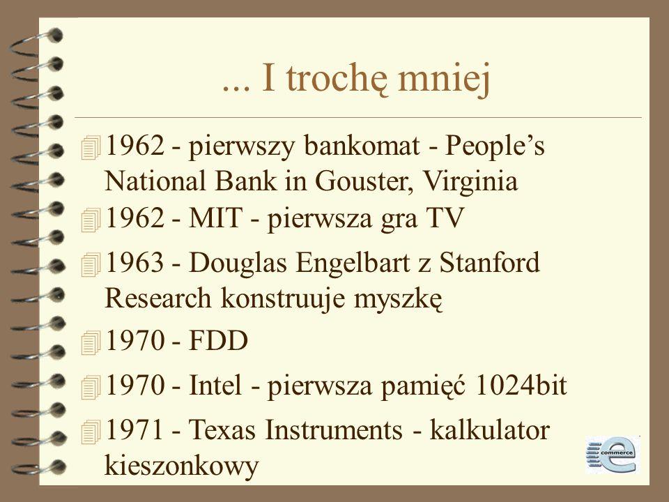 ... I trochę mniej 1962 - pierwszy bankomat - People's National Bank in Gouster, Virginia. 1962 - MIT - pierwsza gra TV.