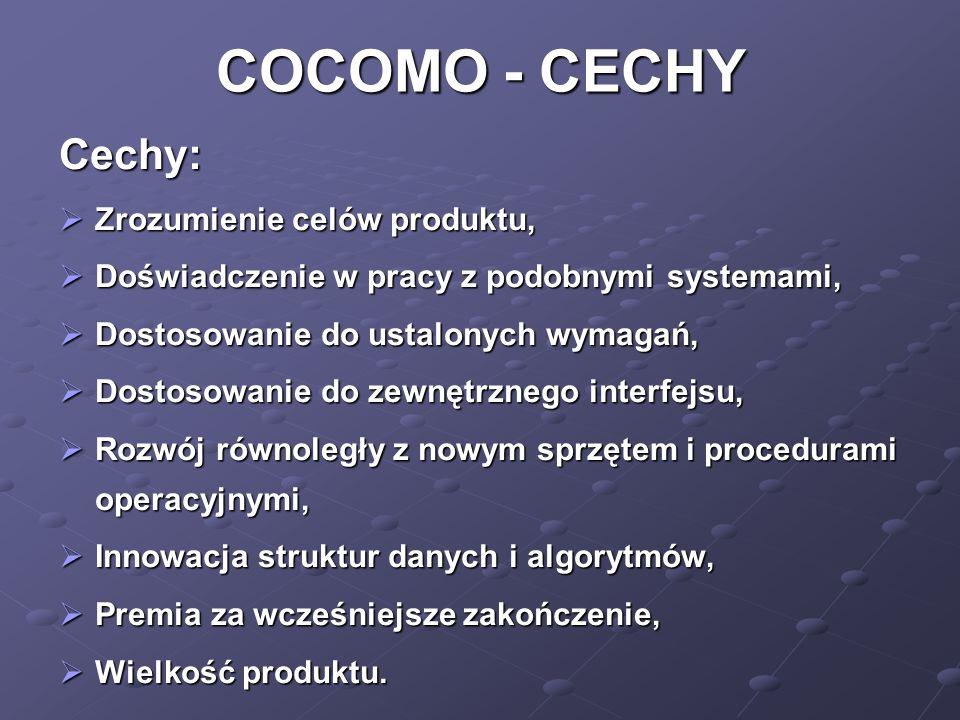 COCOMO - CECHY Cechy: Zrozumienie celów produktu,