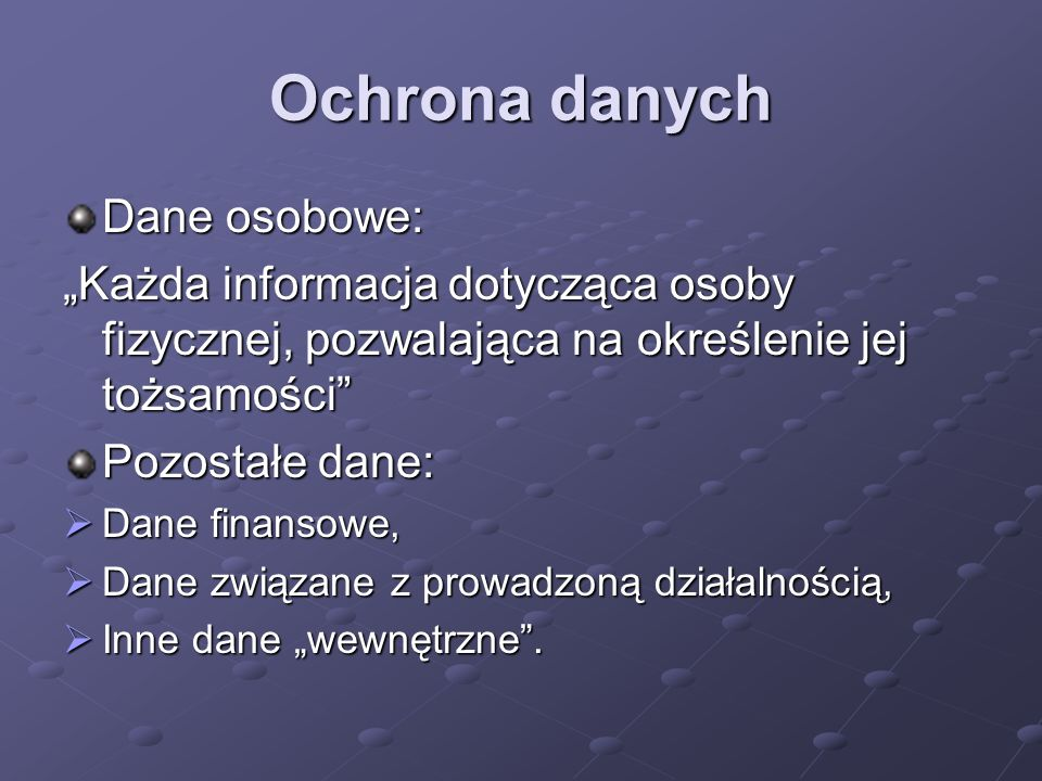 Ochrona danych Dane osobowe: