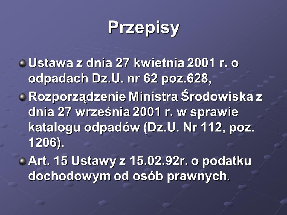 Przepisy Ustawa z dnia 27 kwietnia 2001 r. o odpadach Dz.U. nr 62 poz.628,