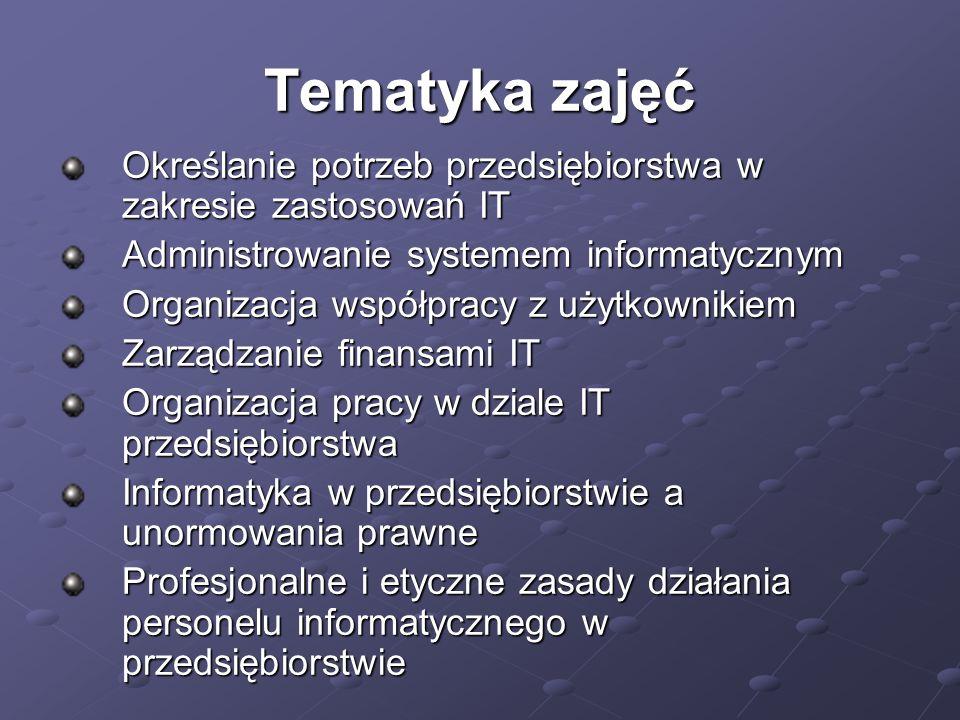 Tematyka zajęć Określanie potrzeb przedsiębiorstwa w zakresie zastosowań IT. Administrowanie systemem informatycznym.