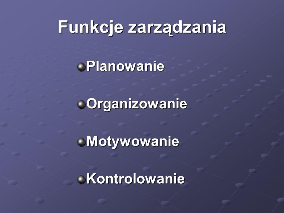 Funkcje zarządzania Planowanie Organizowanie Motywowanie Kontrolowanie