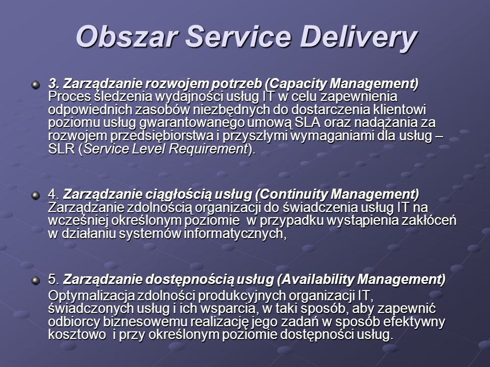 Obszar Service Delivery