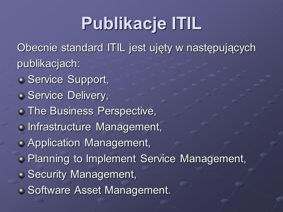 Publikacje ITIL Obecnie standard ITIL jest ujęty w następujących