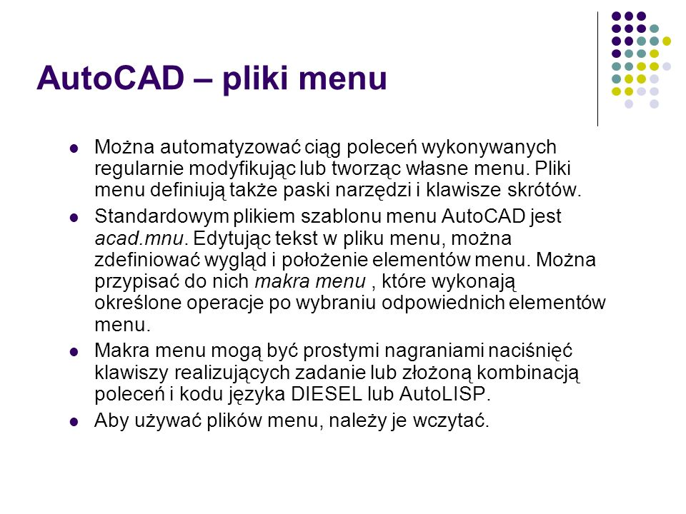 AutoCAD – pliki menu