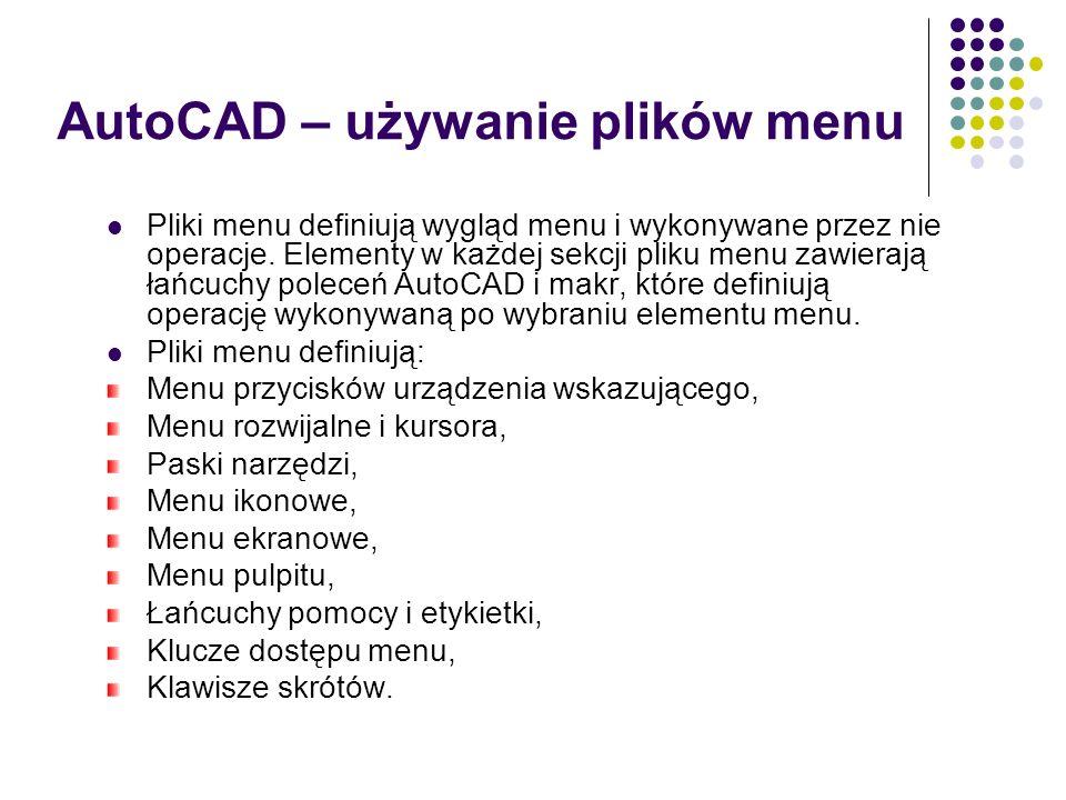 AutoCAD – używanie plików menu