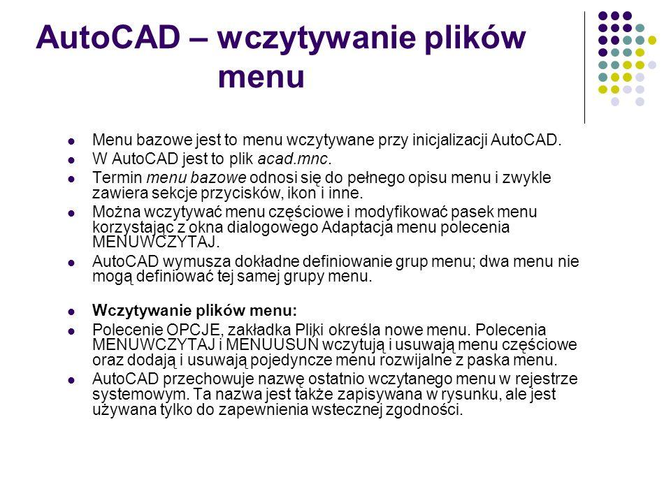 AutoCAD – wczytywanie plików menu