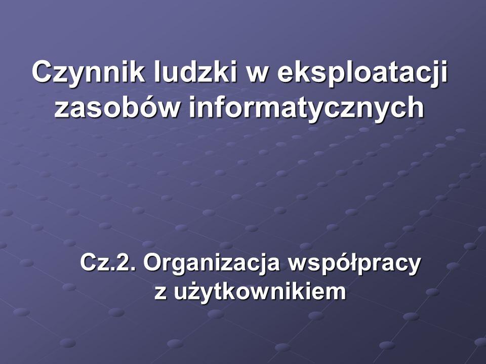 Cz.2. Organizacja współpracy z użytkownikiem