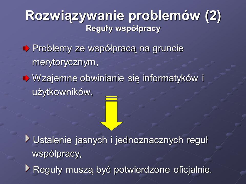 Rozwiązywanie problemów (2) Reguły współpracy