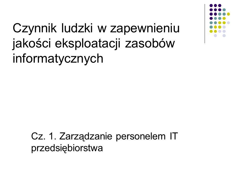 Cz. 1. Zarządzanie personelem IT przedsiębiorstwa