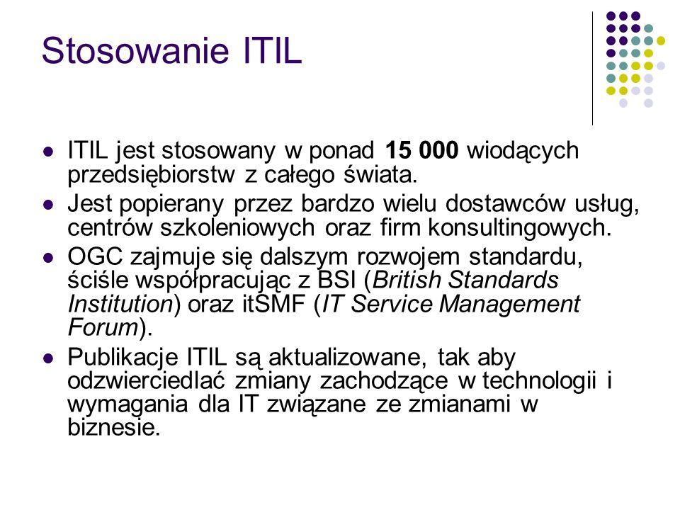 Stosowanie ITIL ITIL jest stosowany w ponad 15 000 wiodących przedsiębiorstw z całego świata.