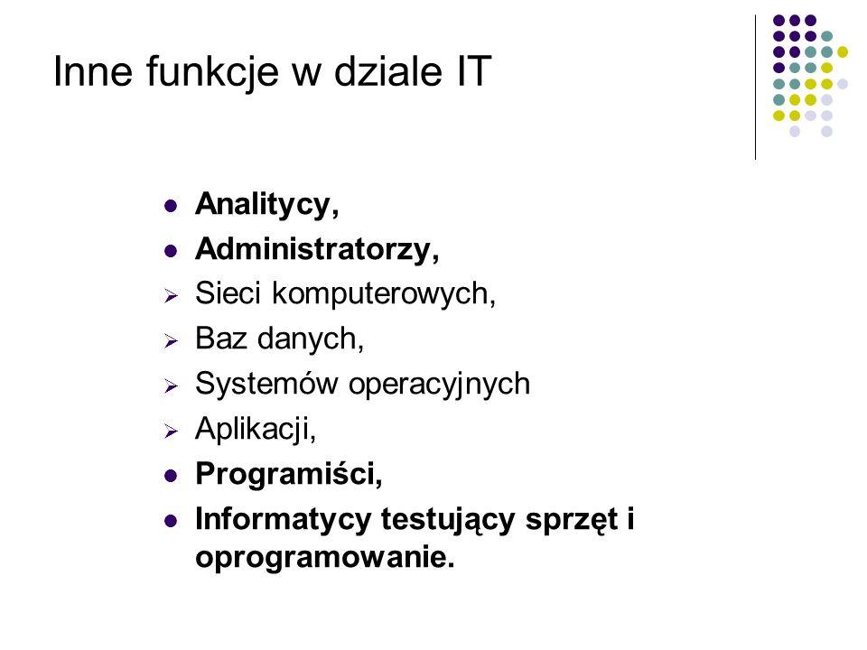 Inne funkcje w dziale IT