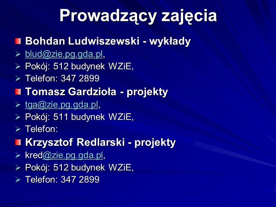 Prowadzący zajęcia Bohdan Ludwiszewski - wykłady