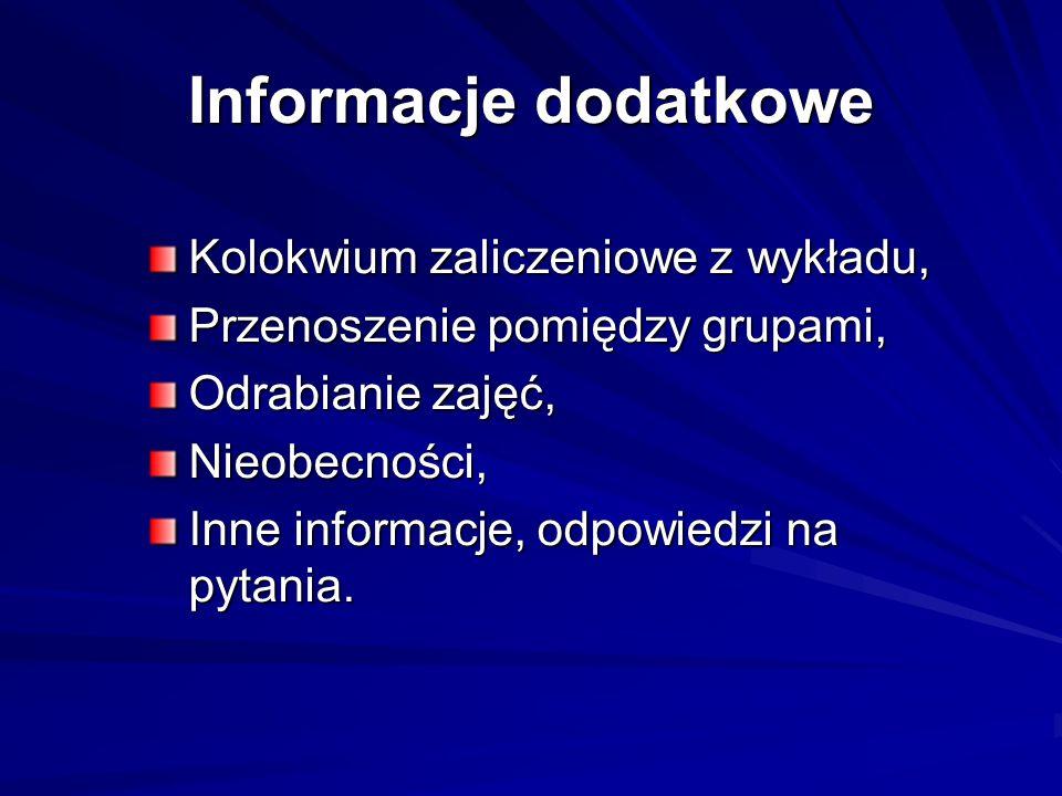 Informacje dodatkowe Kolokwium zaliczeniowe z wykładu,