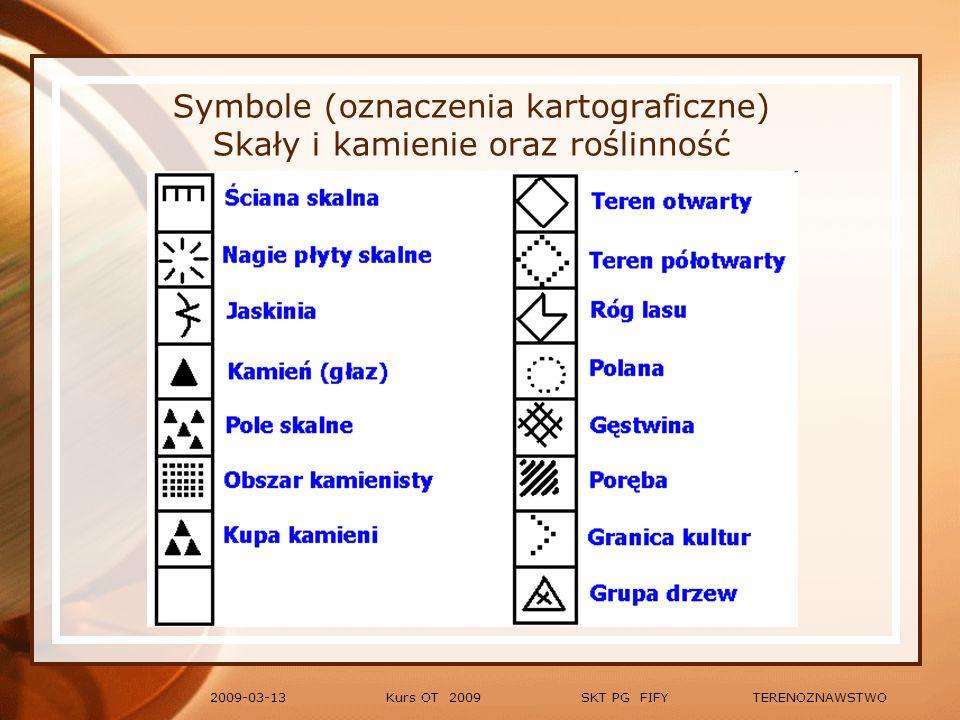 Symbole (oznaczenia kartograficzne) Skały i kamienie oraz roślinność