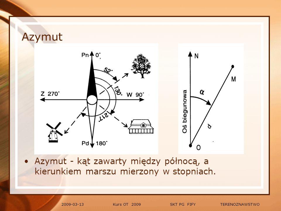 Azymut Azymut - kąt zawarty między północą, a kierunkiem marszu mierzony w stopniach. 2009-03-13.
