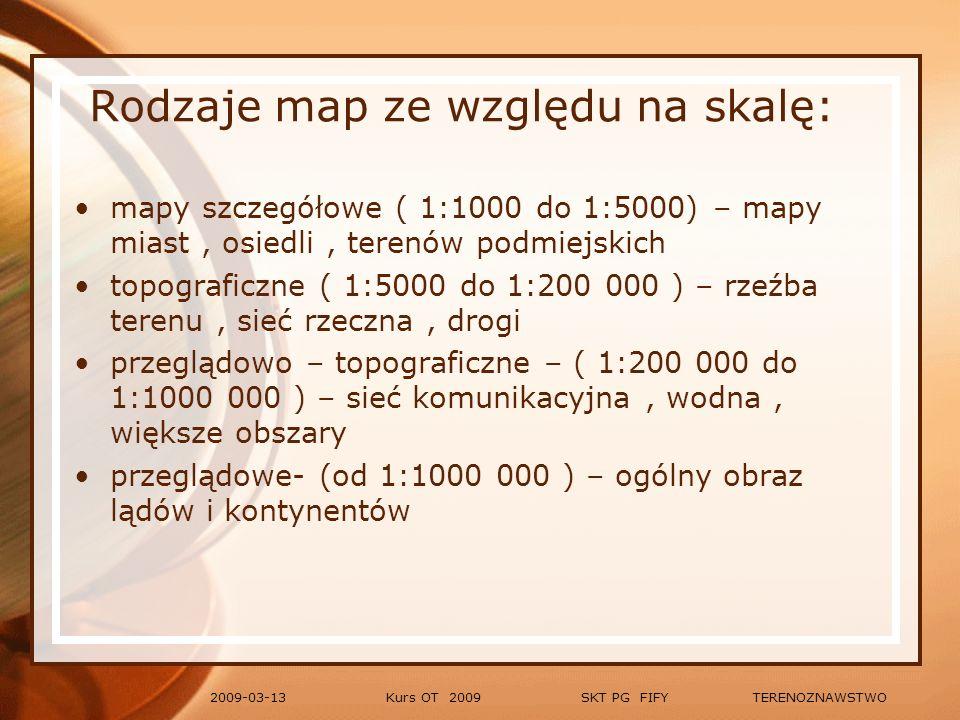Rodzaje map ze względu na skalę: