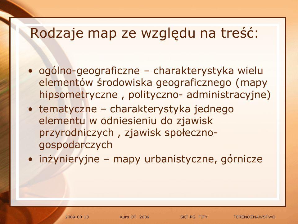 Rodzaje map ze względu na treść: