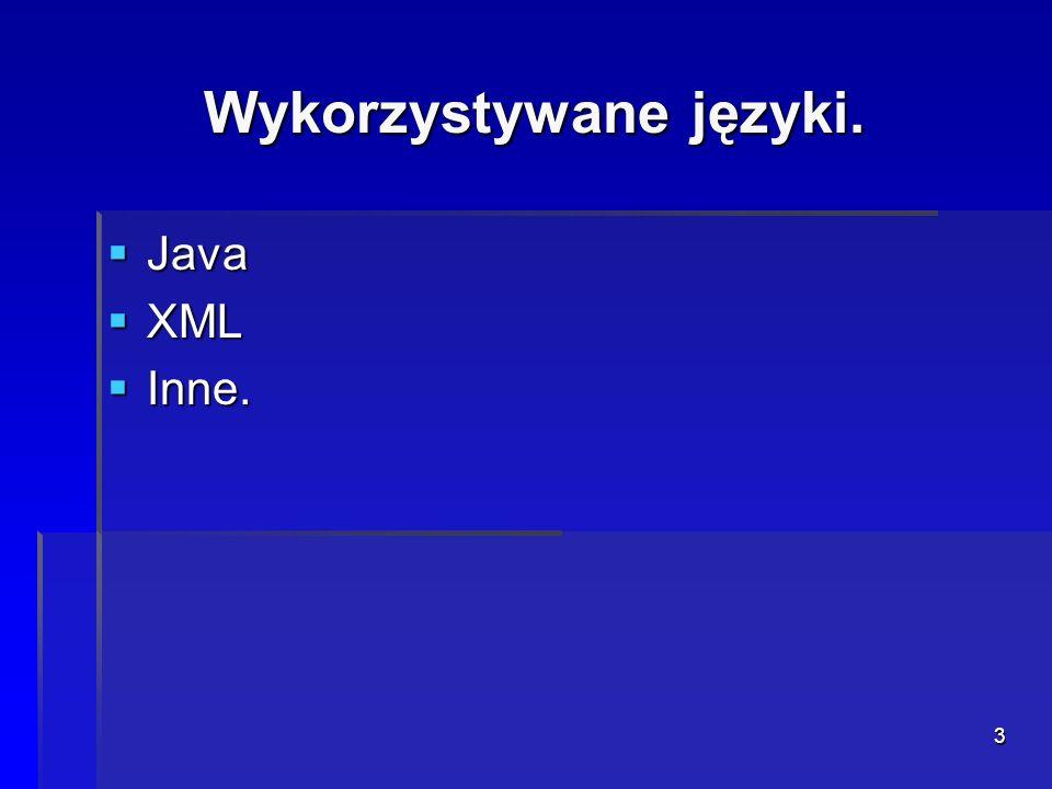 Wykorzystywane języki.