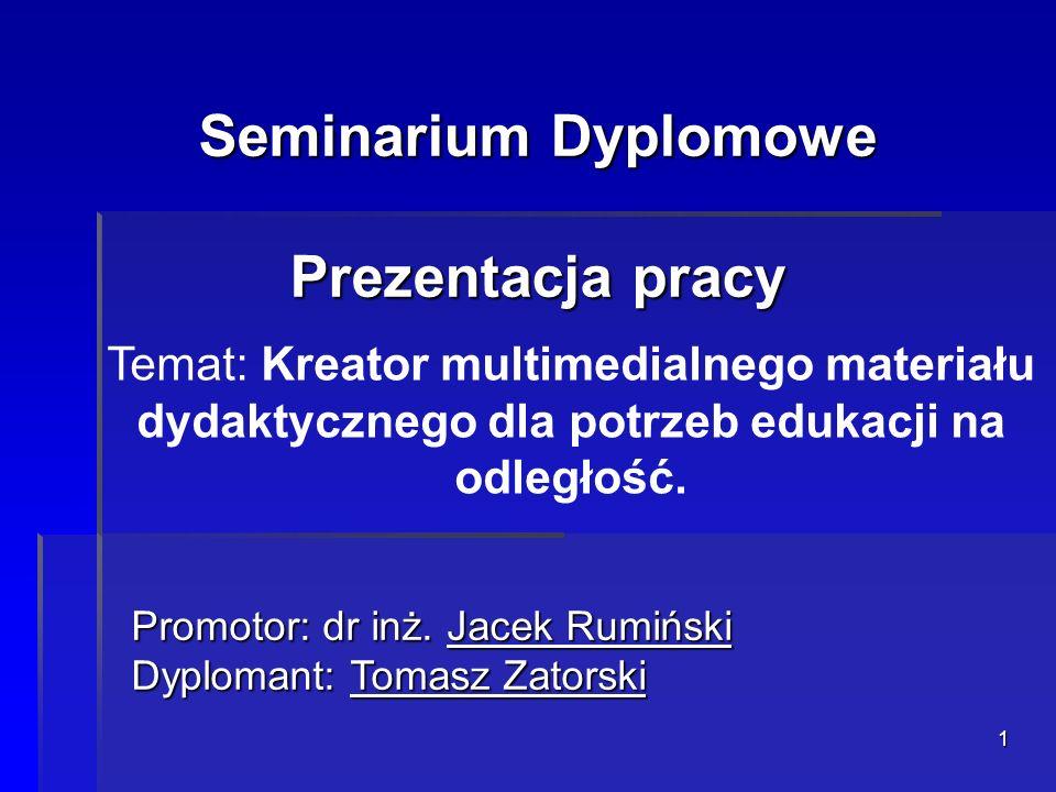 Seminarium Dyplomowe Prezentacja pracy
