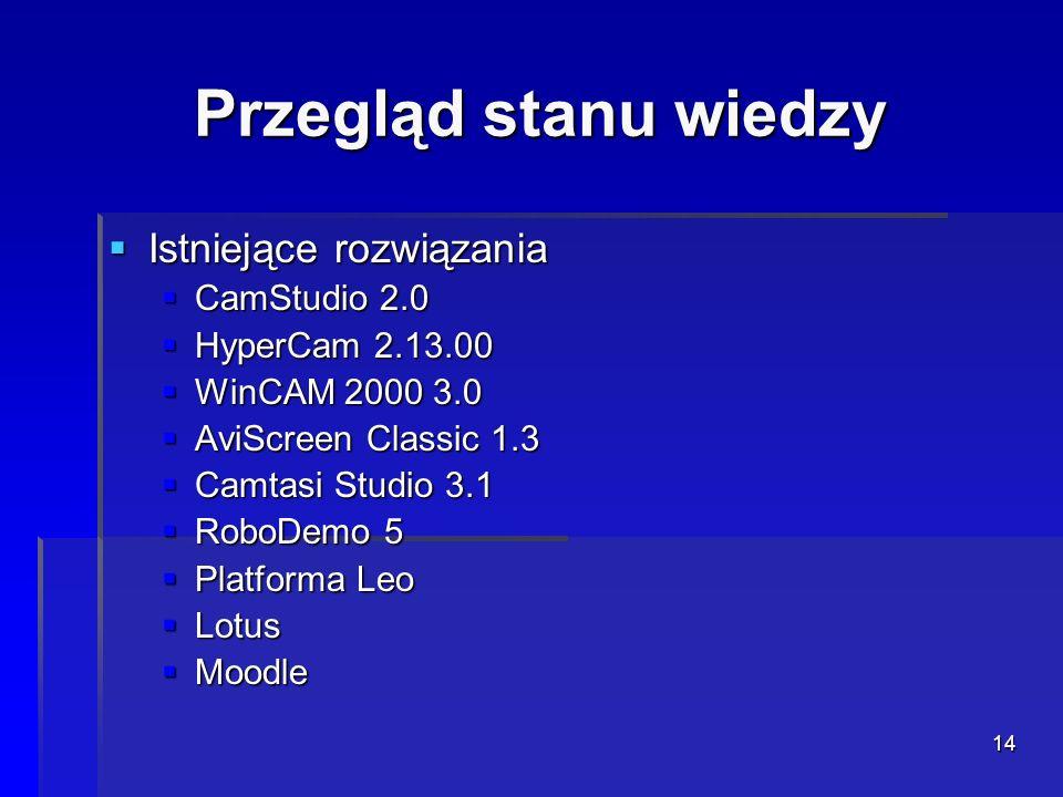 Przegląd stanu wiedzy Istniejące rozwiązania CamStudio 2.0