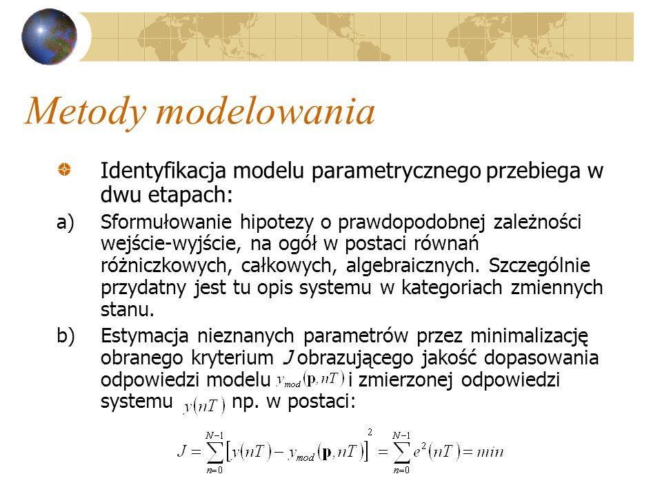 Metody modelowania Identyfikacja modelu parametrycznego przebiega w dwu etapach: