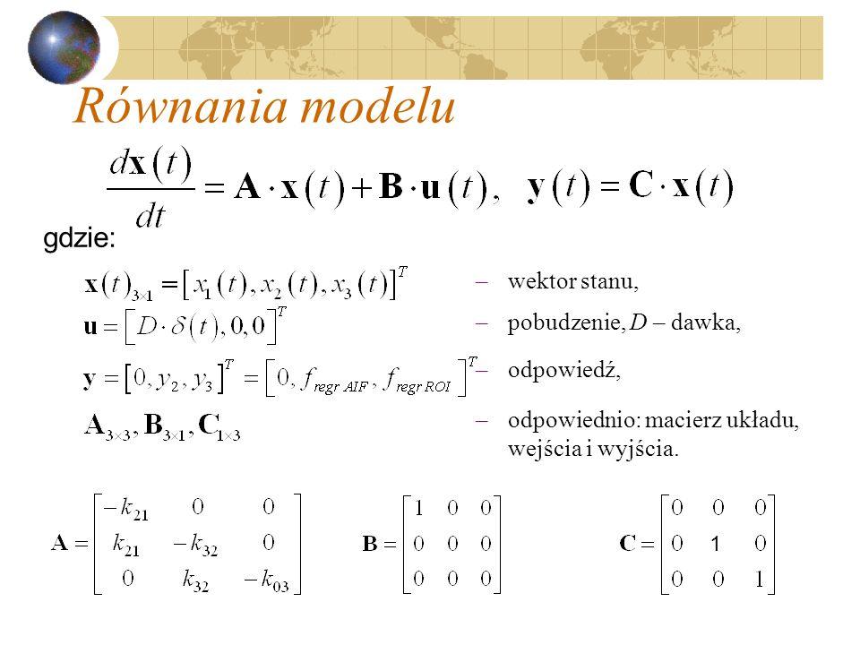 Równania modelu gdzie: wektor stanu, pobudzenie, D – dawka, odpowiedź,