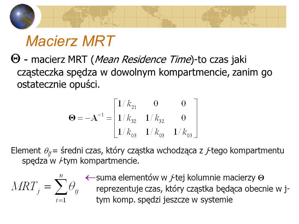 Macierz MRT - macierz MRT (Mean Residence Time)-to czas jaki cząsteczka spędza w dowolnym kompartmencie, zanim go ostatecznie opuści.