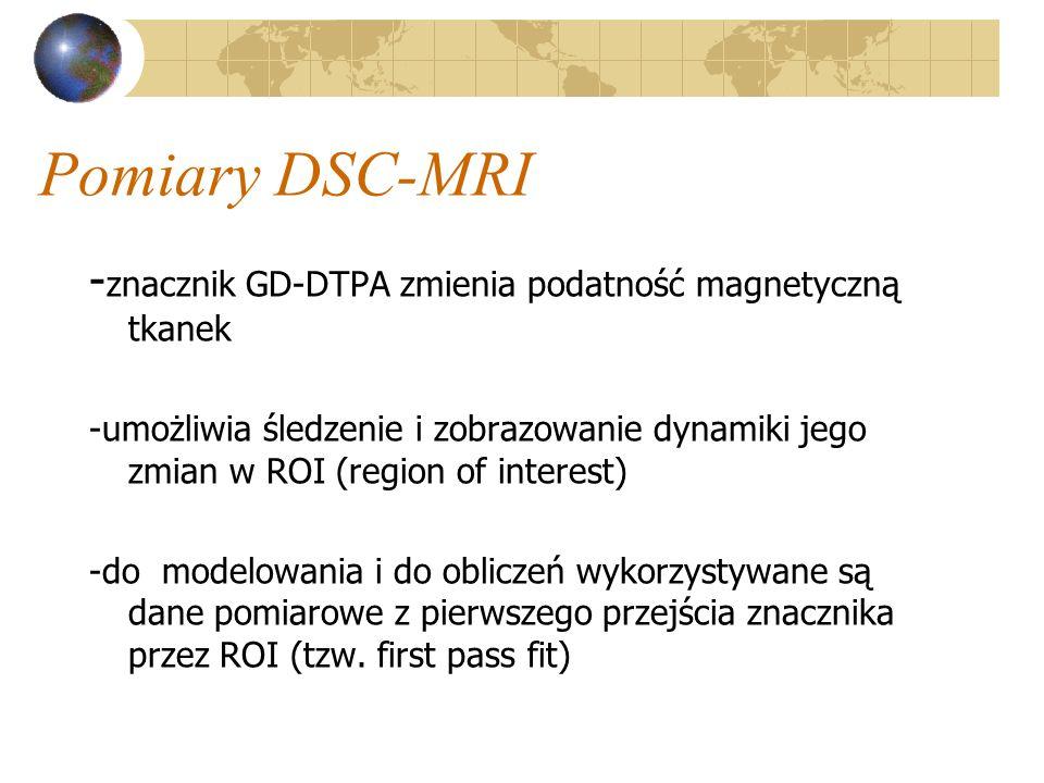 Pomiary DSC-MRI -znacznik GD-DTPA zmienia podatność magnetyczną tkanek