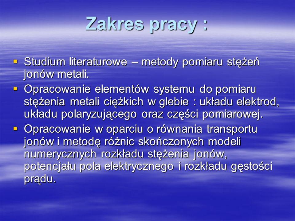 Zakres pracy : Studium literaturowe – metody pomiaru stężeń jonów metali.