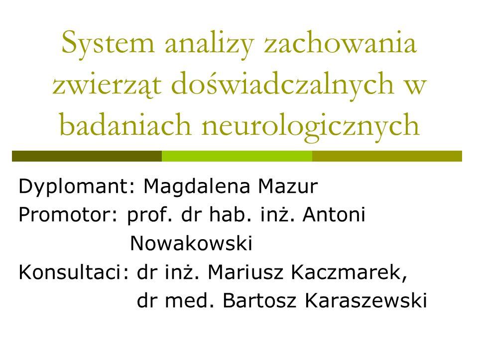 System analizy zachowania zwierząt doświadczalnych w badaniach neurologicznych