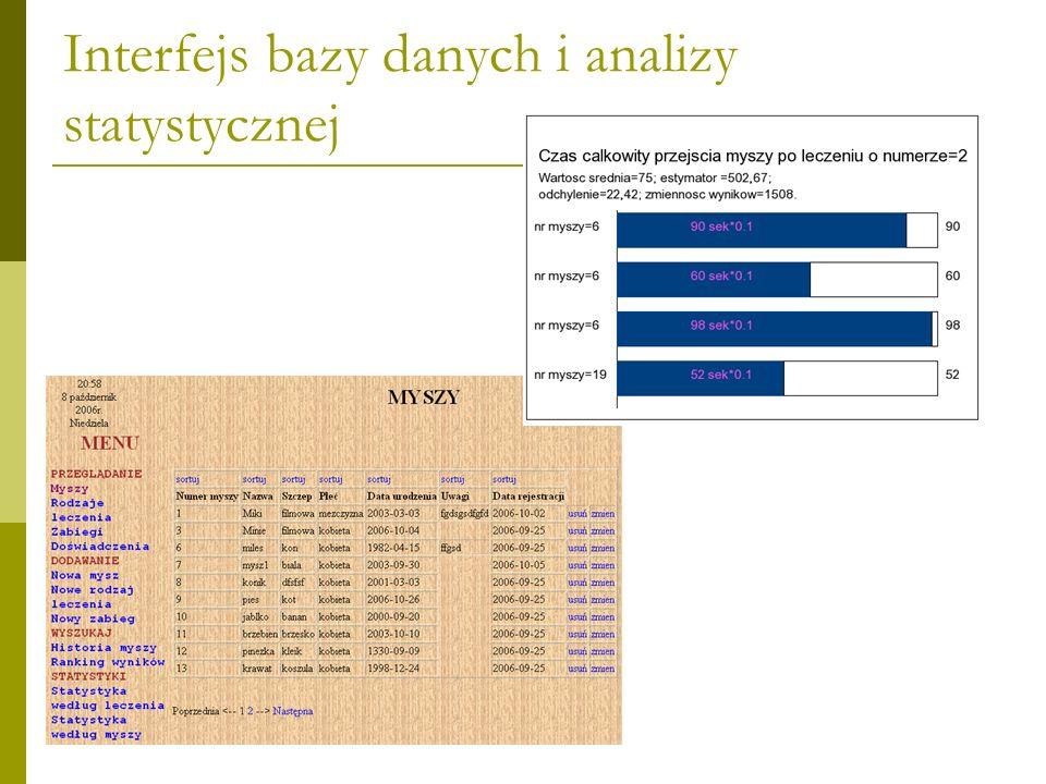 Interfejs bazy danych i analizy statystycznej