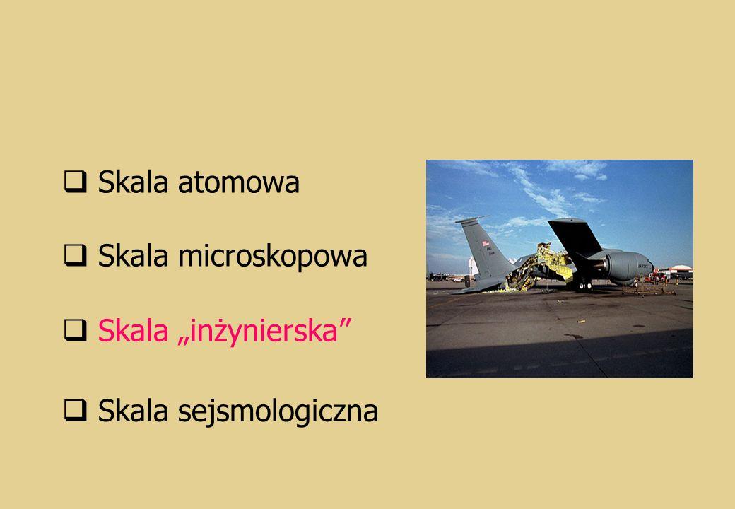"Skala atomowa Skala microskopowa Skala ""inżynierska Skala sejsmologiczna"