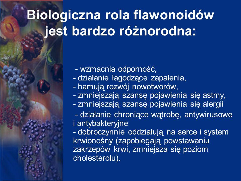 Biologiczna rola flawonoidów jest bardzo różnorodna: