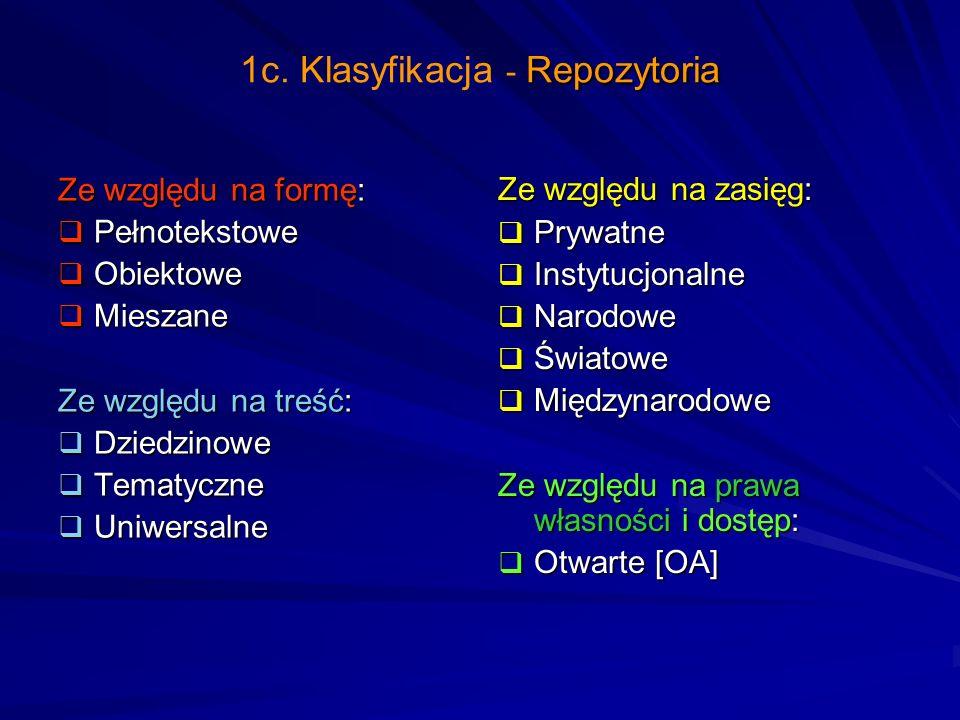 1c. Klasyfikacja - Repozytoria