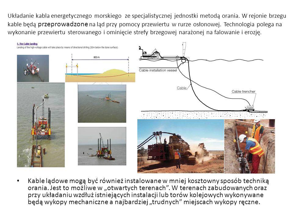 Układanie kabla energetycznego morskiego ze specjalistycznej jednostki metodą orania. W rejonie brzegu kable będą przeprowadzone na ląd przy pomocy przewiertu w rurze osłonowej. Technologia polega na wykonanie przewiertu sterowanego i ominięcie strefy brzegowej narażonej na falowanie i erozję.